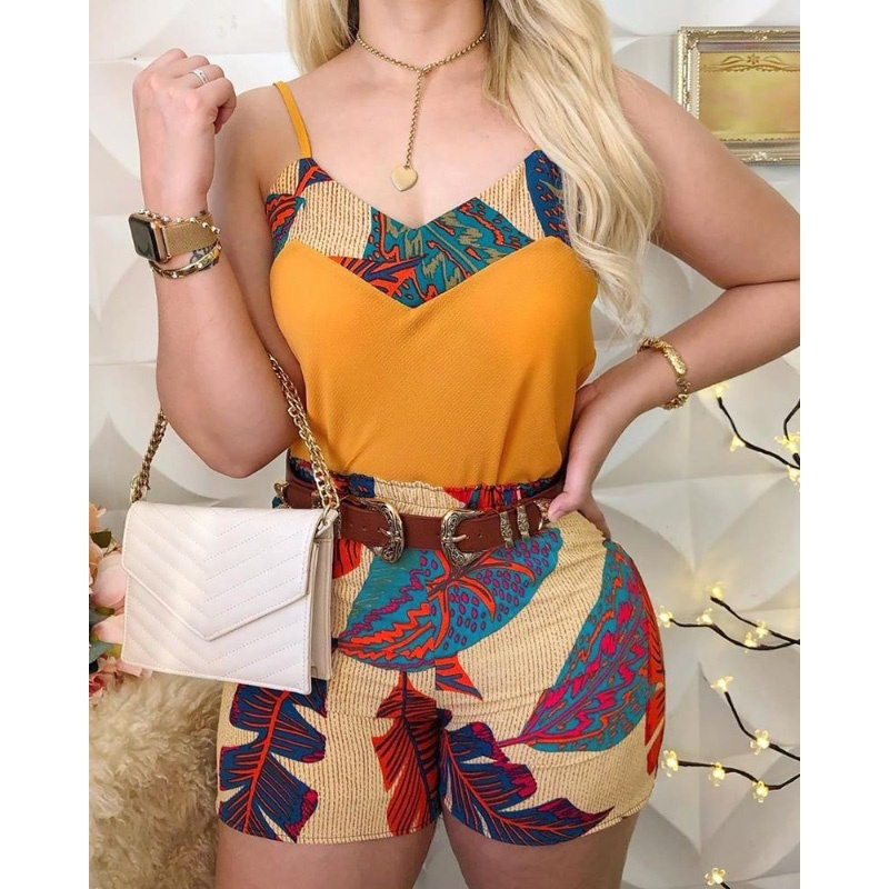 Fashion Women Spaghetti Strap Print Top & Short Sets