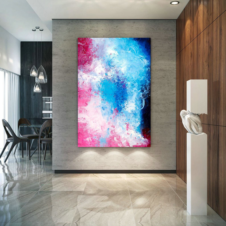 Pink Blue Extra Large Wall Art, Abstract Painting on Canvas Modern Home Decor Office Home Artwork Large Original Contemporary art XL lac688