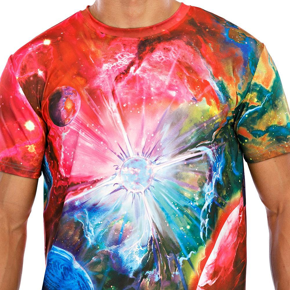 Men's T-shirt Galaxy Graphic Print Tops Round Neck Blue Red Green / Short Sleeve