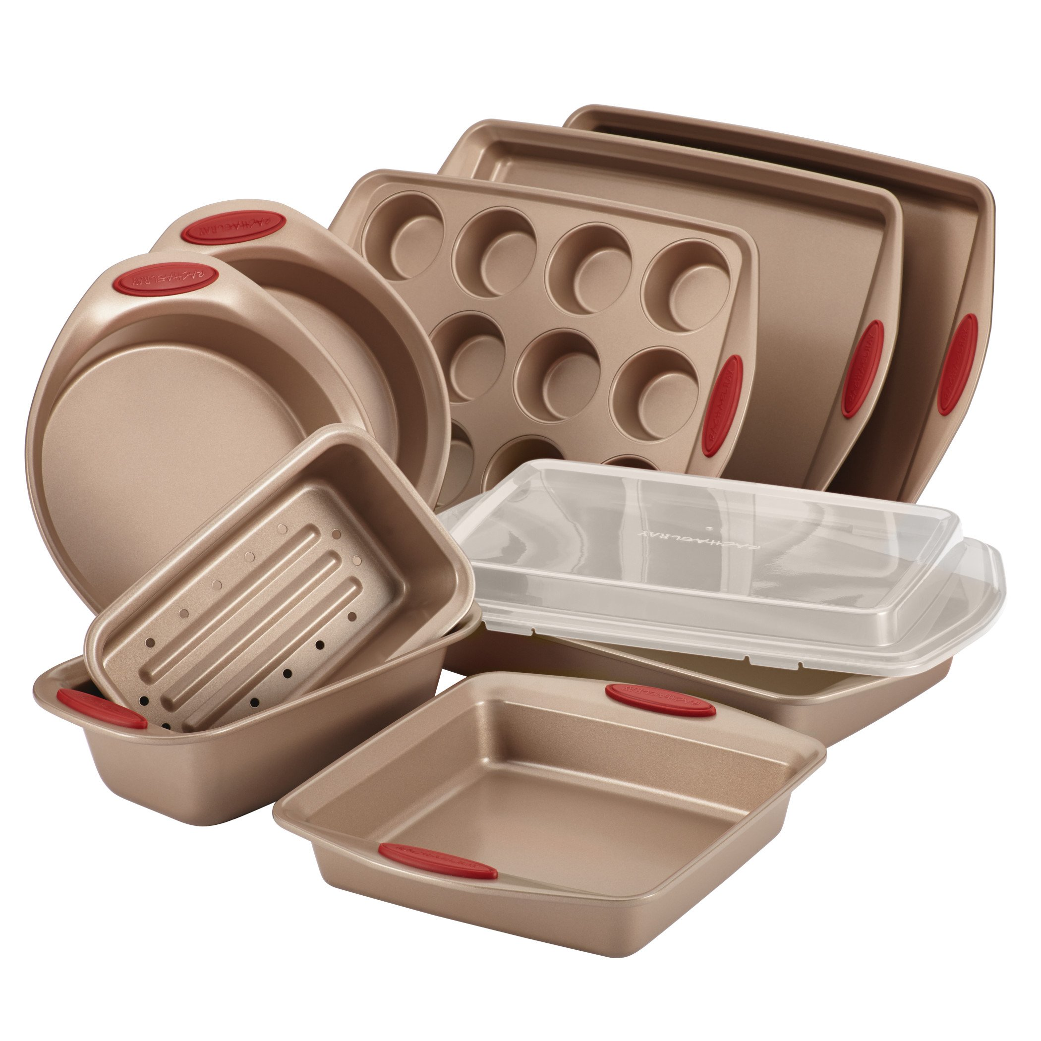 10 Piece Cucina Nonstick Bakeware Set, Brown with Red Handles-Bakeware Sets 3.24