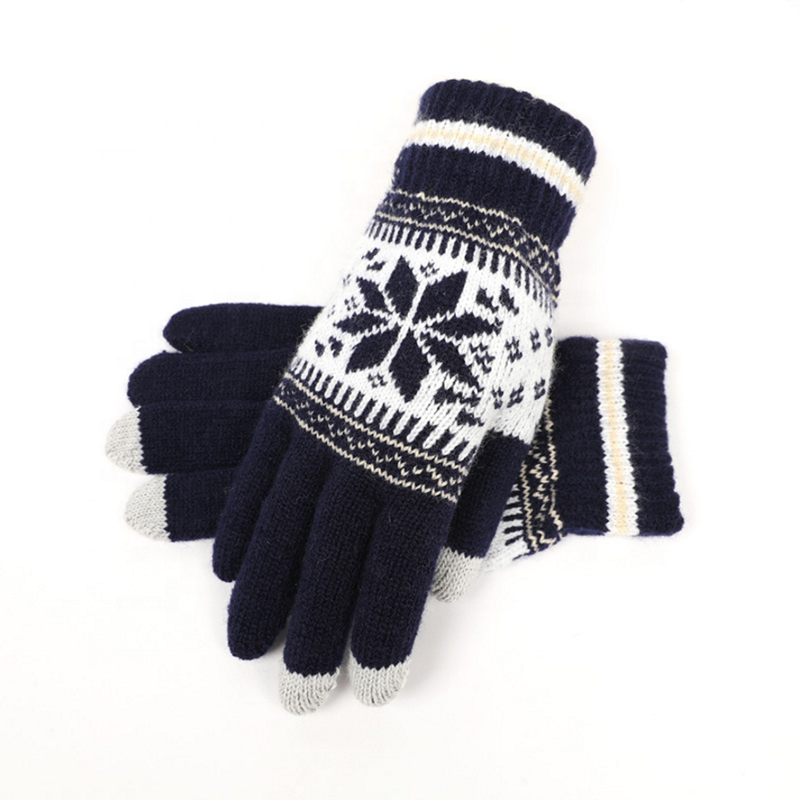 Warm Thermal Soft Lining Elastic Men Women Touchscreen Mittens Texting Winter Knitted Gloves-1.9