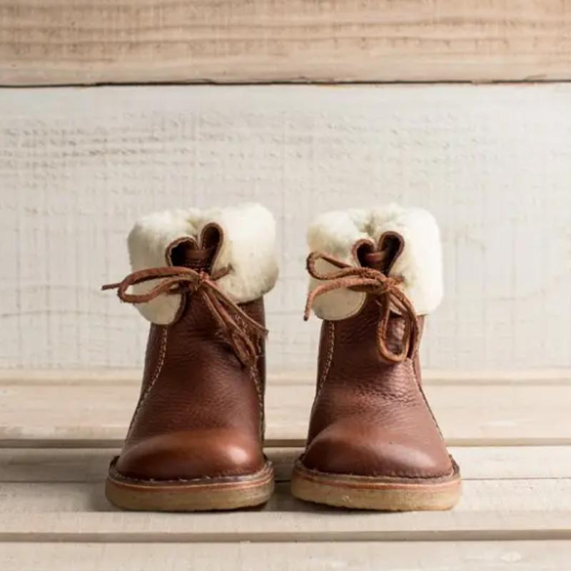 Holilychic Women Comfy Soft Fur-Lined Leather Casual Round Toe Mid-Calf Boots