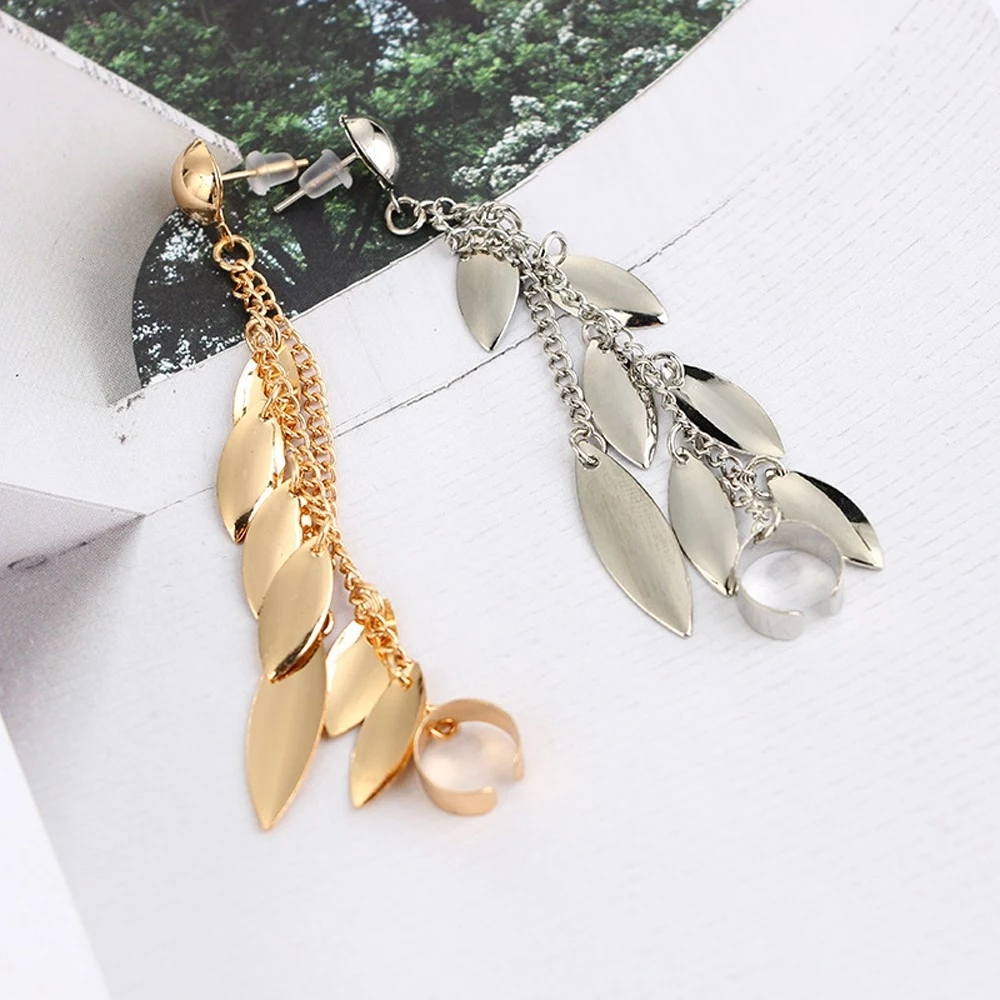 Style of Leaf Tassel Earrings Personality Perfect Neutral Ear Bones Clip Ear Studs Accessories with Zinc Alloy