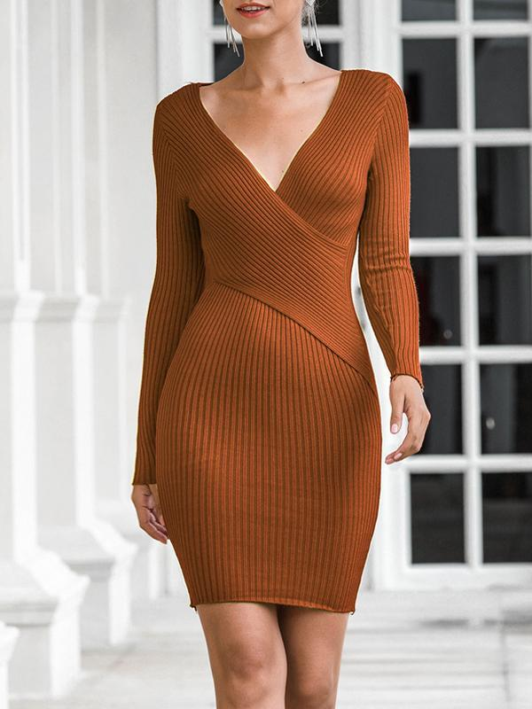 V-Neck Long Sleeve Patchwork Raglan Sleeve Date Night/Going Out Dress(Plus Size)