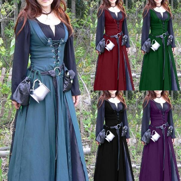 Europe 18th Vogue Classic Vintage Retro Belted Medieval Dress Mediaeval Renaissance Long Sleeve  Floor Length Lace Up Women Retro Tunic Dresses Cosplay Costume