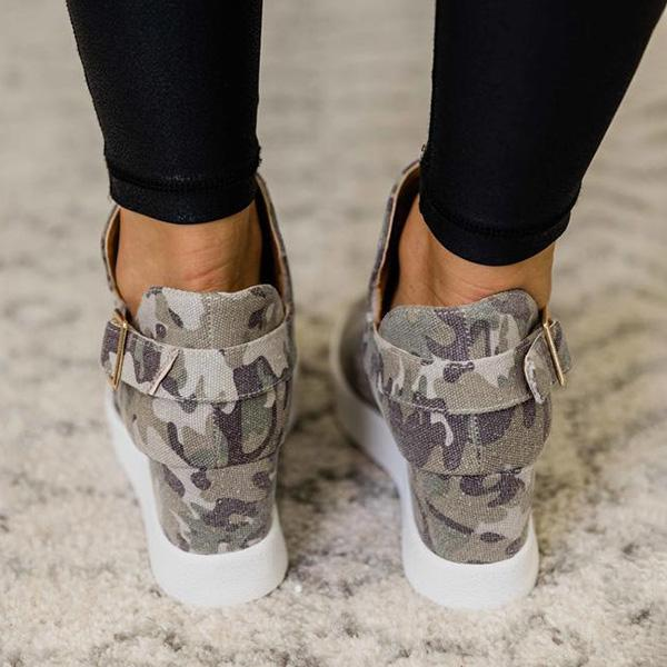 Faddishshoes Wedge Heel Camo Sneakers