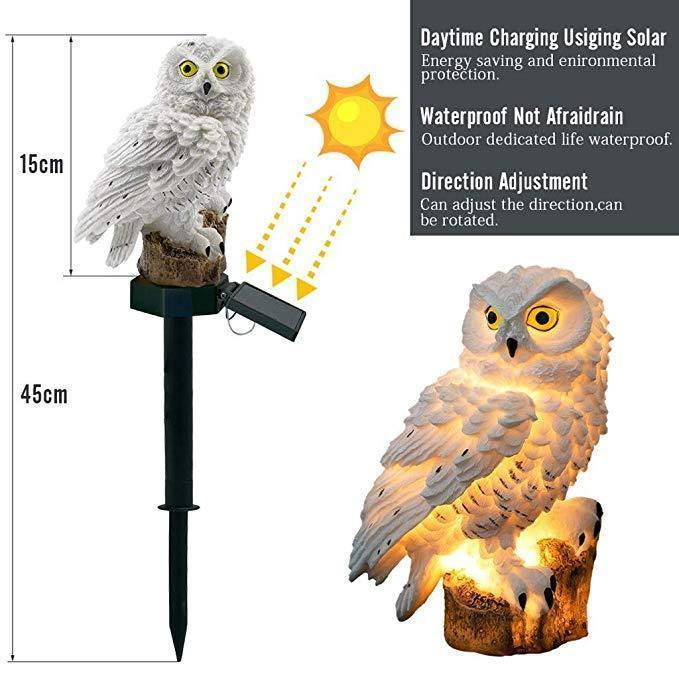 Highpot Owl Shape Solar Powered LED Lamp Outdoor(Brown+White)