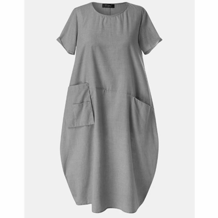 Women Casual Crew Neck Summer Dress With Pockets