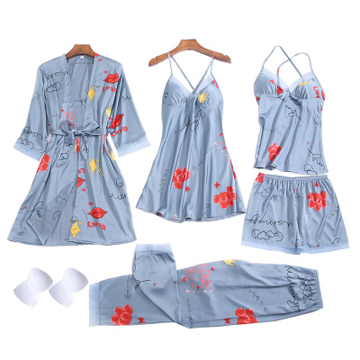 Pajamas Printed Sexy Nightgown Five-piece Set Multiple Combinations