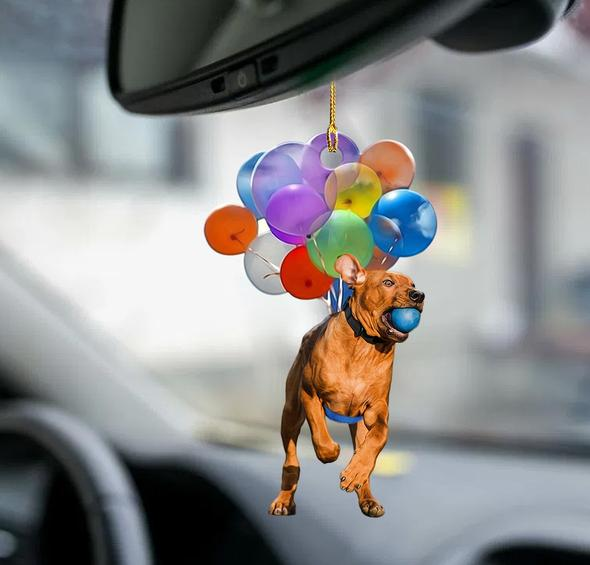 Rhodesian Ridgeback fly with bubbles dog hanging ornament