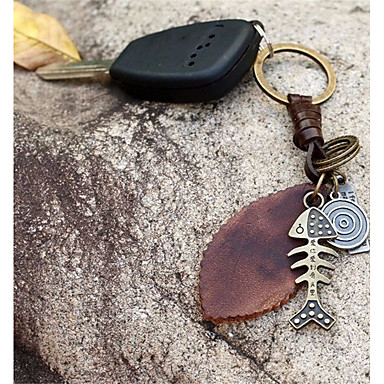 Keychain Fish Leaf Vintage Fashion Ring Jewelry Brown For