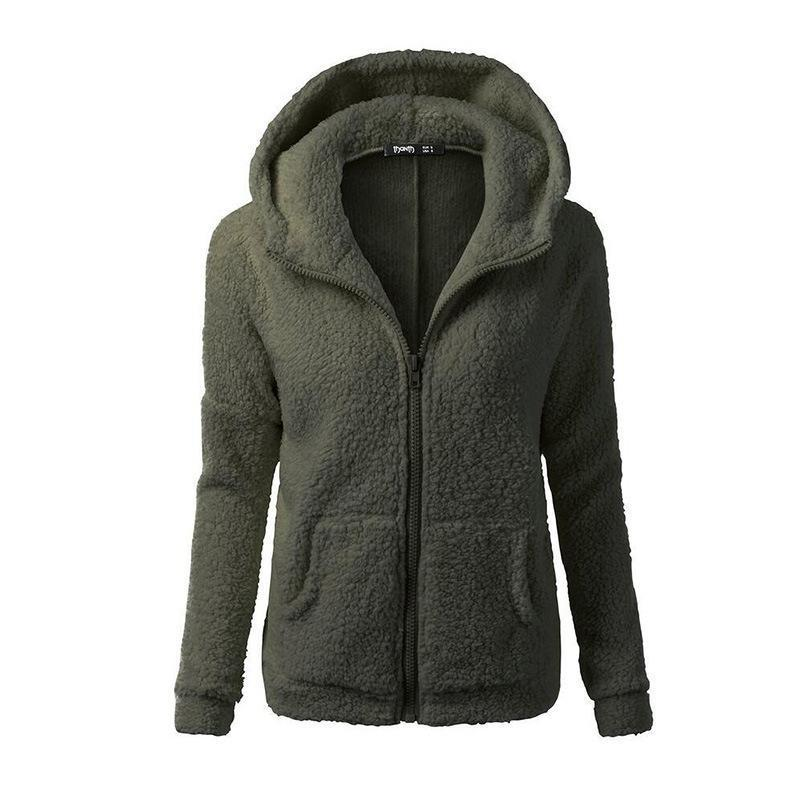 Women Large Size Winter Fall Solid Fur Hoodie Sweatshirt