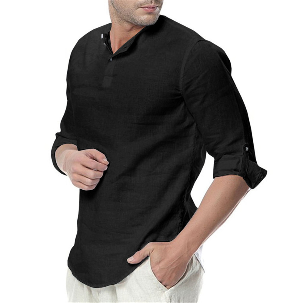 Men's Button Stand Collar Linen Cotton Daily Casual Shirt