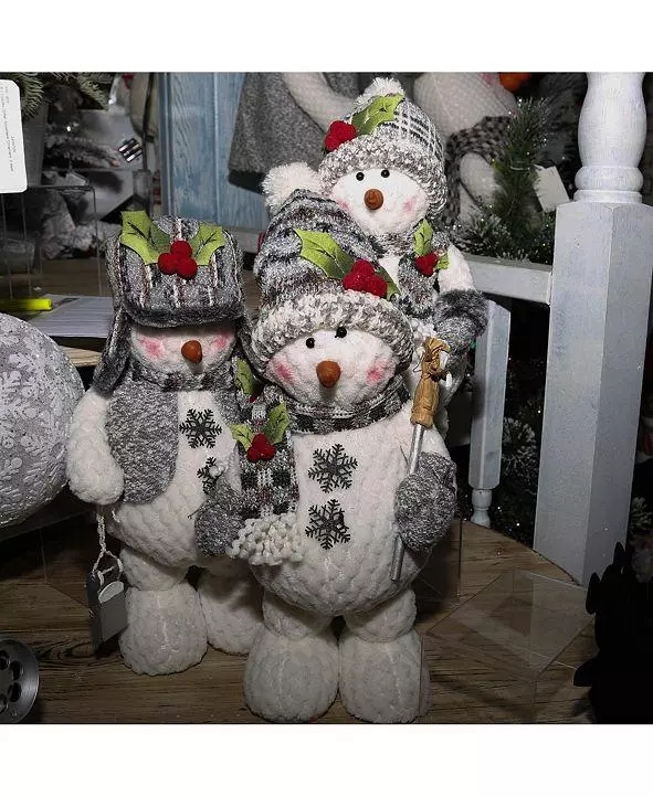 Set of 3 Assorted Poly-Cotton Plush Standing Snowmen