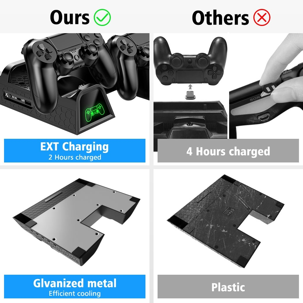 New Blue Light Vertical Cooling Stand, PS4 Controller Charger with LED Indicators,Charging Dock Station with 12PCS Games Storage for PS4,PS4 Slim,PS4 Pro