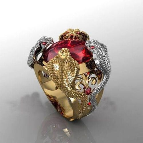 The Latest Fashion Men Luxury Ruby Cobra Gold Ring 18K Gold Silver Plated Men's Ring Party Jewelry Size 6-12