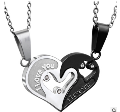 Stainless Steel Mens Womens Couple Necklace Pendant Love Heart Puzzle Matching