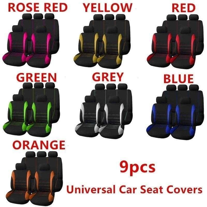 2019 New 2PCS/4PCS/9PCS Universal Seat Covers for Car Full Car Seat Cover Car Cushion Case Cover Front Car Seat Cover Car Accessories Car Seats Car-styling Car Interior Automobiles Green Car Seat Cover