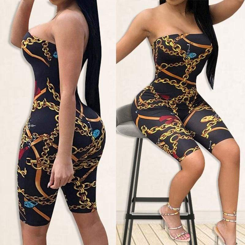 2018 New Women Strapless Classic Chain Print Bodycon Club Party Casual Mid Short Jumpsuit