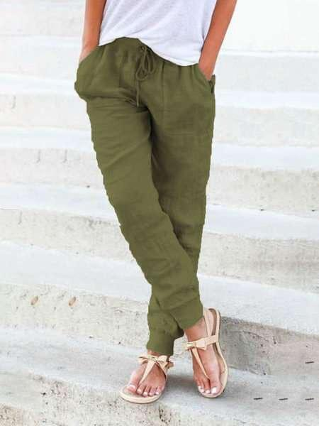 Solid Stretchy Women's Drawstring Linen Pants