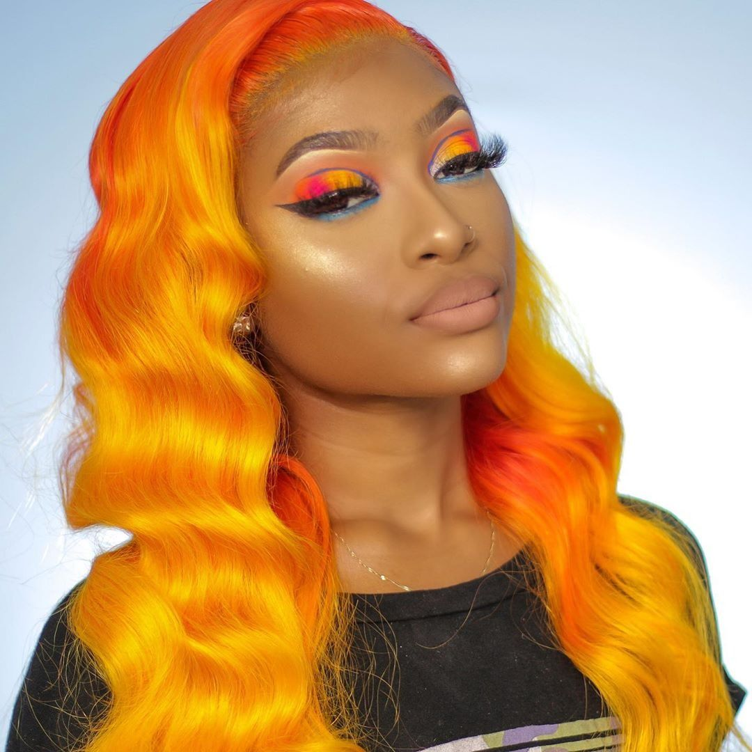 Lace Frontal Wigs Red Hair Red Orange Yellow Hair Synthetic Ombre Wig Hair Hairstyle Men Hairstyle 2019 Free Shipping