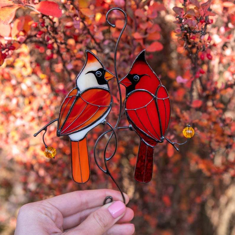 Valentine Stained Glass Cardinals Gift Cardinal Ornament For Window Stained Glass Bird Suncatcher Mothers Day Gift