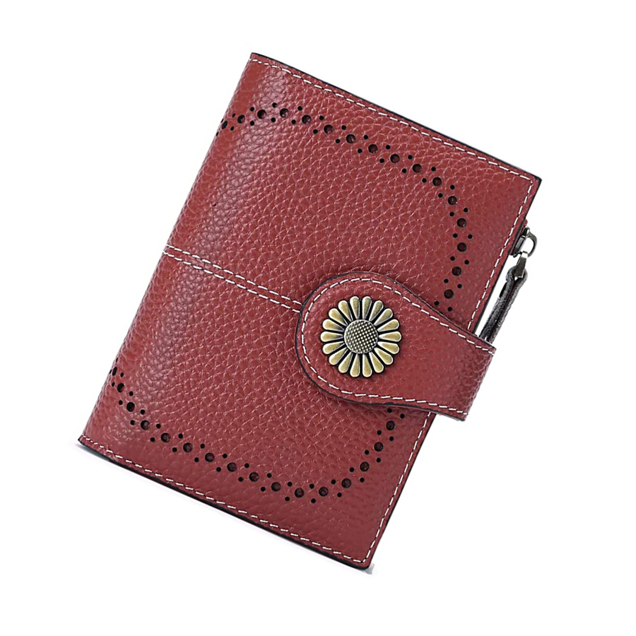 Small Women Wallet Genuine Leather Bifold Purse with ID Window