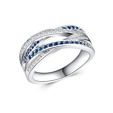 Women's Ring Cubic Zirconia 1pc Green Blue Light Blue Copper Silver-Plated Round Luxury Unique Design Gift Daily Jewelry Classic Cool Lovely