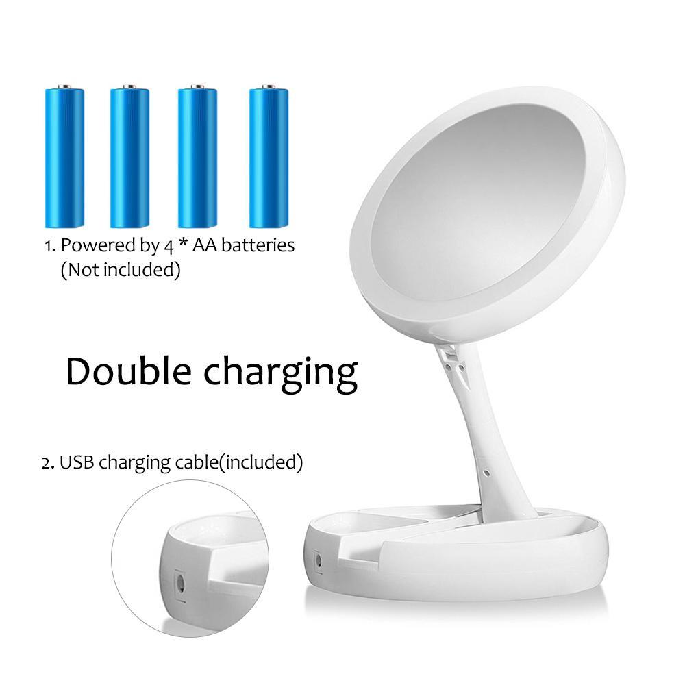 Flexible Fold Away Makeup Mirror with Dual Sided LED Light As Seen on TV
