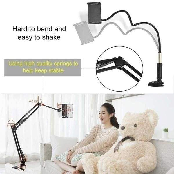 Aluminum Universal Flexible Tablet Phone Bracket Mount Holder Adjustable and Compatible with 4-13 Inches Smartphones Tablets