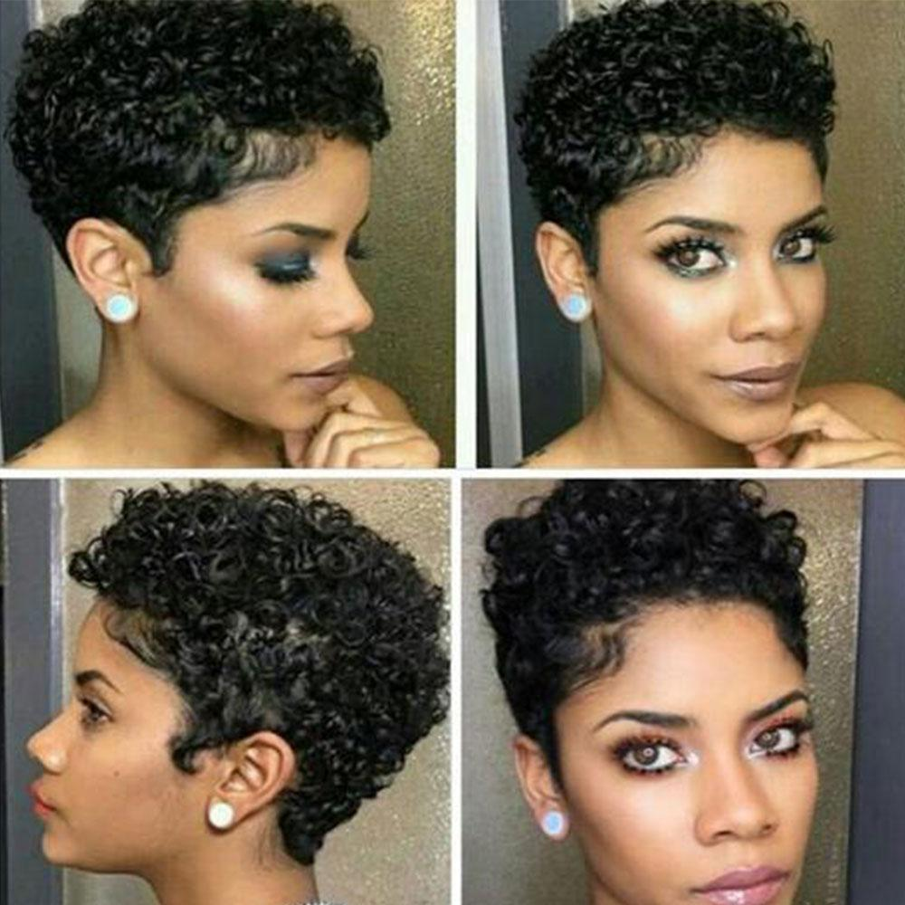 Luna 021 African American Classic Kinky Short Curly Wig for Women