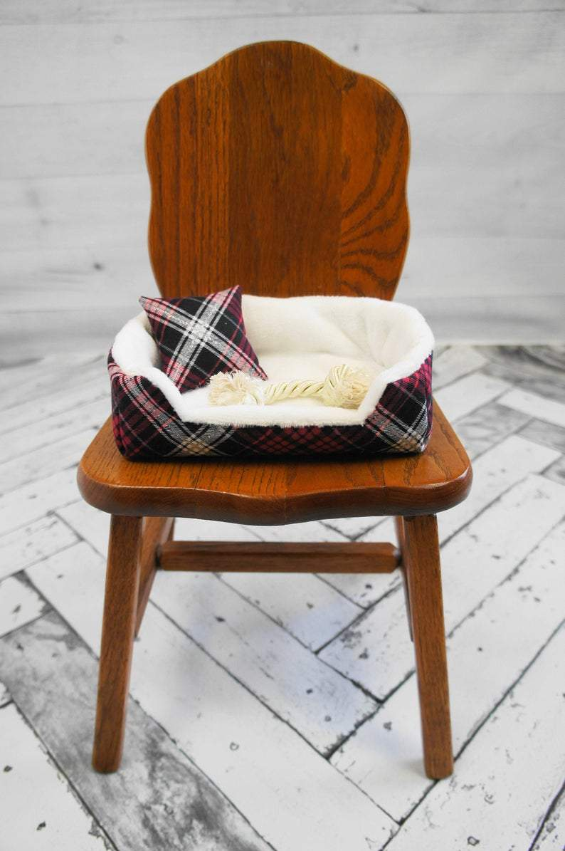 Holiday Plaid Doll Sized Pet Bed, 18 inch doll pet, Christmas Plaid, dog bed