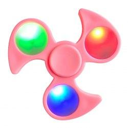 Fiddle Toy Fidget Spinner with Colorful Flashing LED Lights - Pink