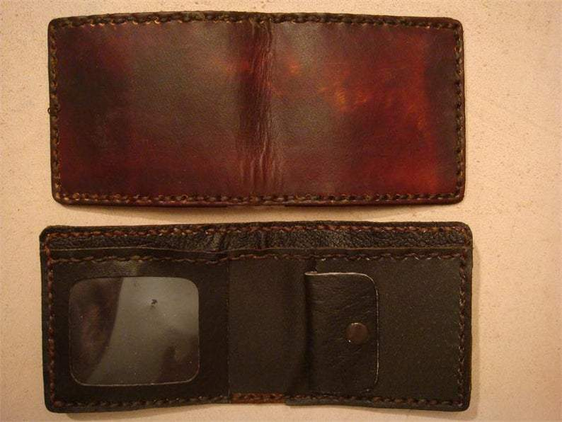 Handmade Brown Leather Kid's Wallet - Kid's Billfold        Update your settings