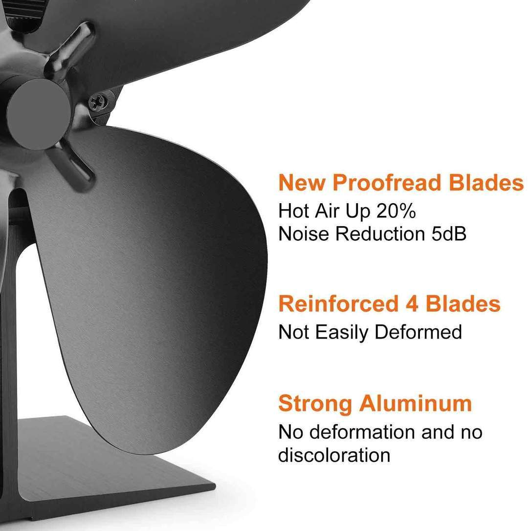 4 Blade Stove Fan – Quiet, Heat Powered Wood/Log Burner Fan - Eco Friendly Heat Circulation for Fireplaces +Stove Thermometer