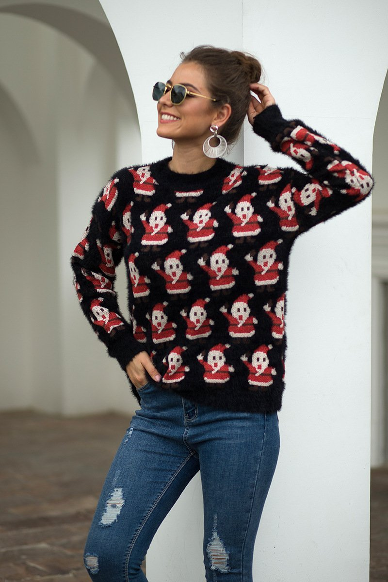 Christmas New Arrival Knitting Printed Women Sweater