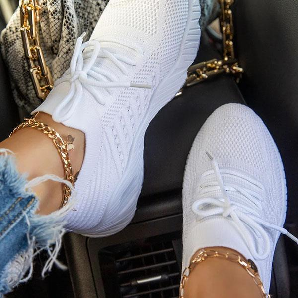 Trendymap Slip-On Lace-Up ClosureLightly Padded Insole Sneakers