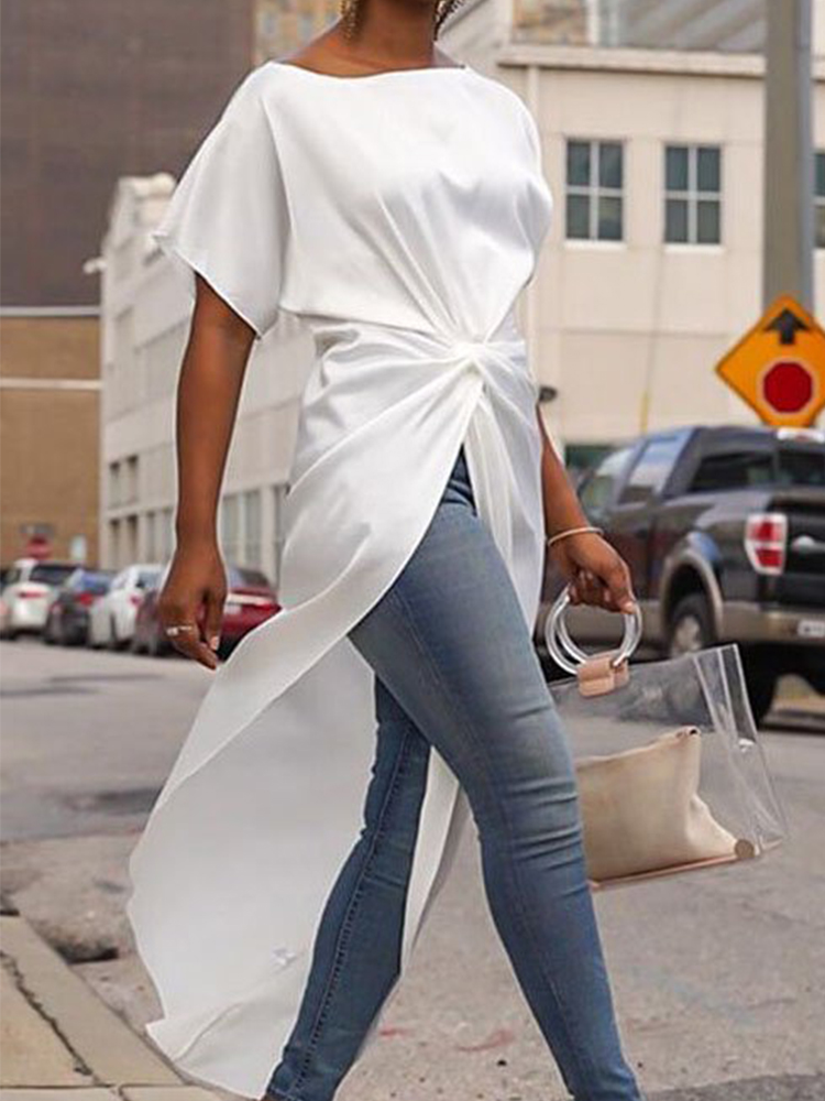 Simple Fashionable with Side-Slit Dress