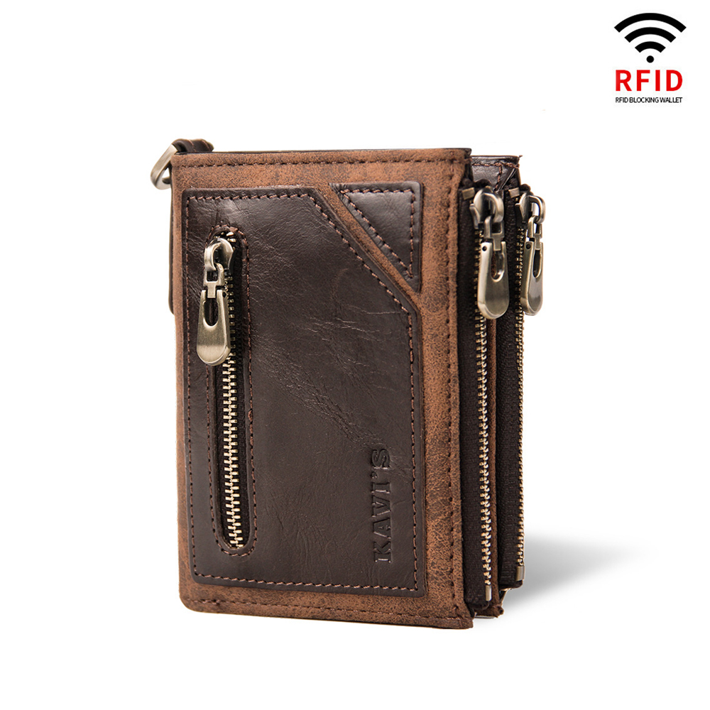 Crazy horse leather retro men's leather rfid  wallet