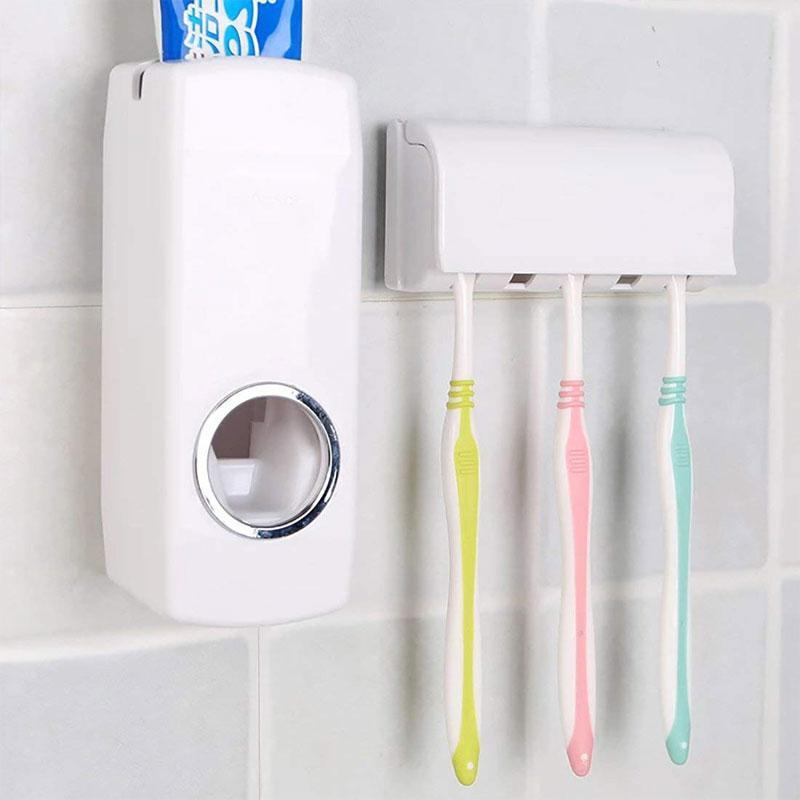 SKRTEN Automatic Squeezer Toothpaste Dispenser with 5 Toothbrush Hang Holder Dust-proof Wall Mounted