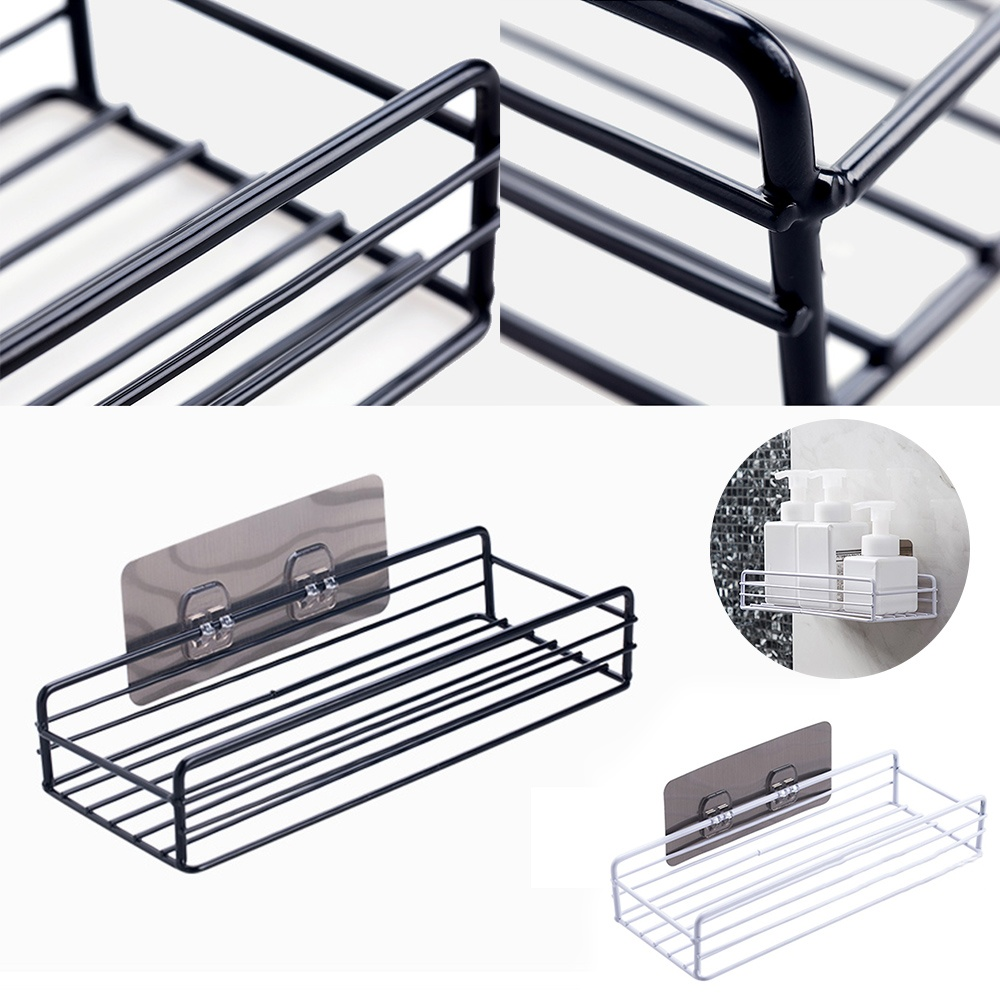1PC iron bathroom shelf wall hanging shower gel storage rack bathroom free punching toiletries rack