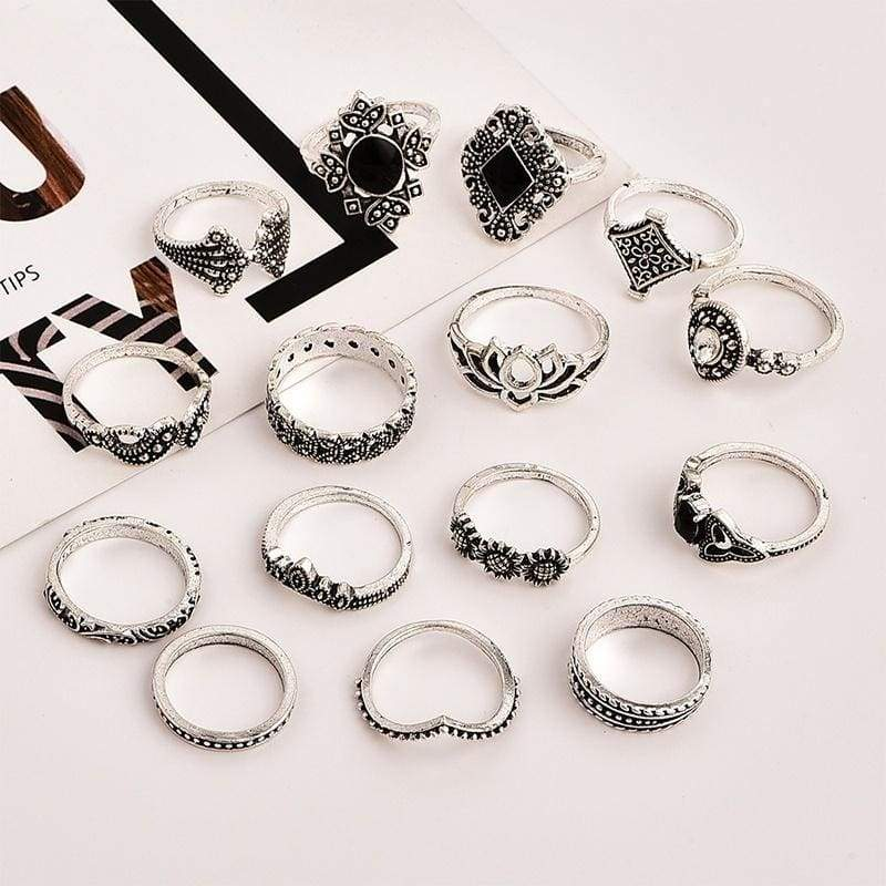 15Pcs/Set Bohemia Flowers Crystal Crown Finger Ring Set Trendy Silver Joint Knuckle Rings Women Jewelry Accessories Gifts