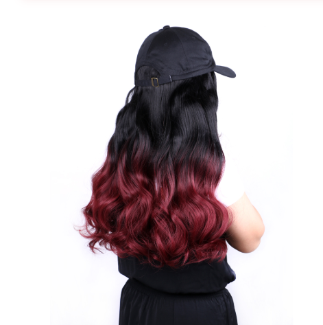 Hair 22inch Ombre Hair Natural Wave Wigs For Women Synthetic Hairpiece With Baseball Duck Tongue Hat Makeup Wigs