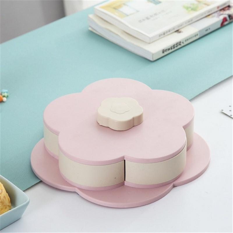 Petal-Shape Rotating Snack Box Double-deck Candy Tray Food Storage Box