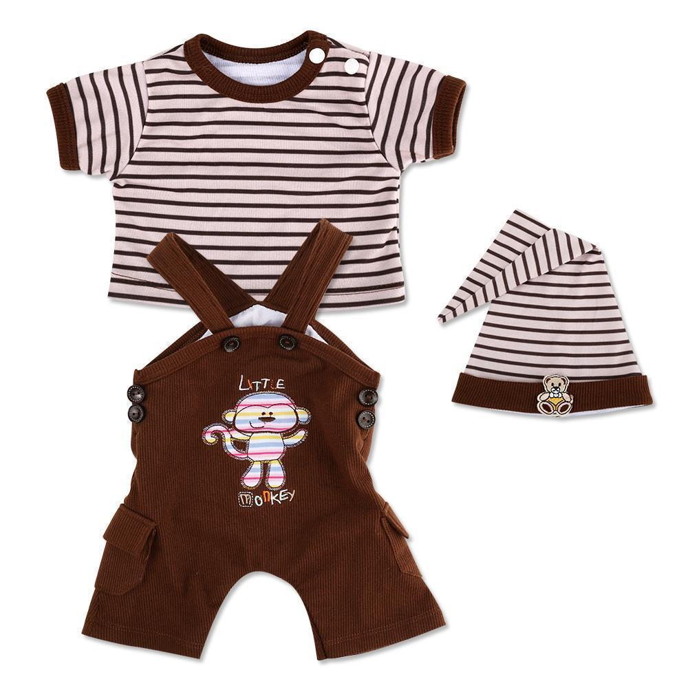 Reborn Dolls Baby Clothes Brown Outfits for 20