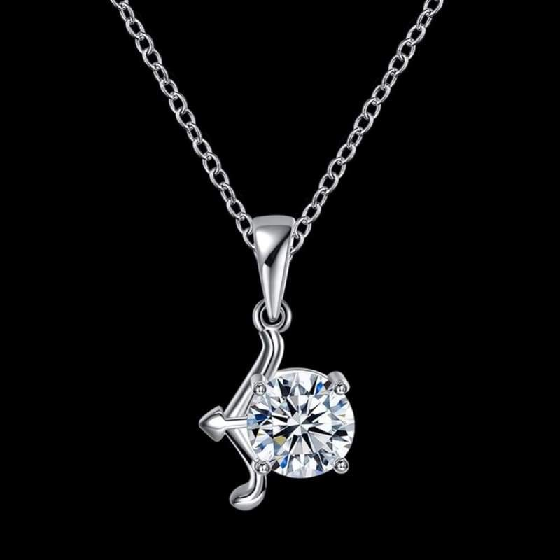 12 Styles Innovative 925 Silver 12 Constellations Stylish Crystal Pendant Fine Necklace