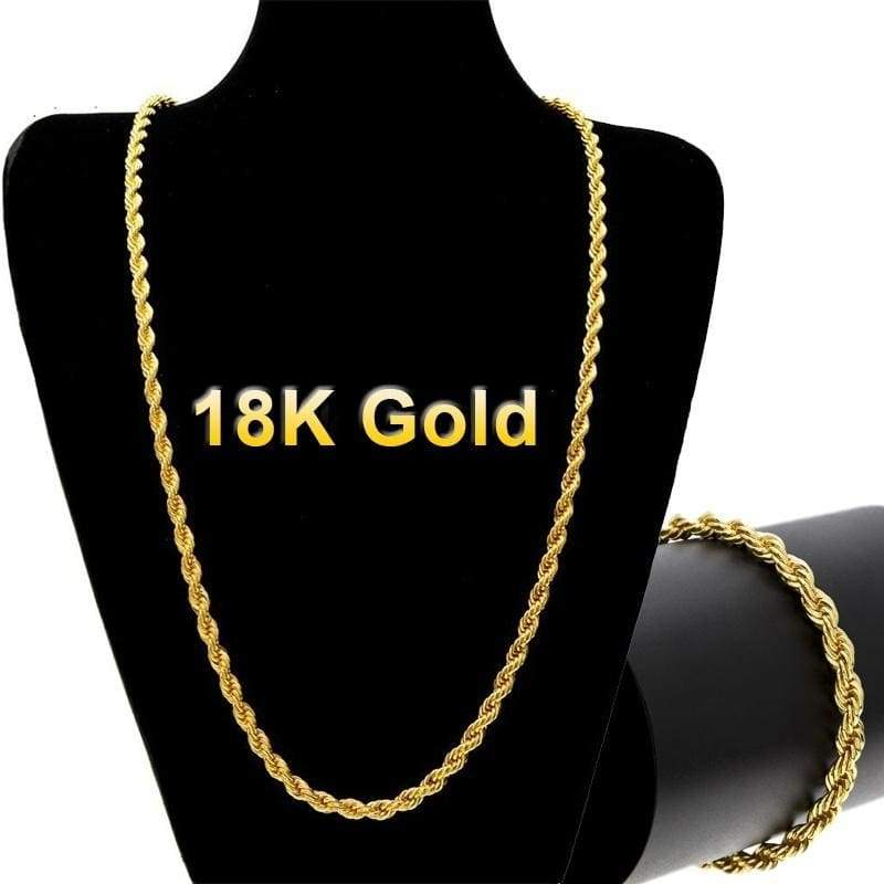 18k Gold Long Chain Necklace Men Jewelry Brand Gothic Gold Color Male Nicerin Best Goods Free Shipping