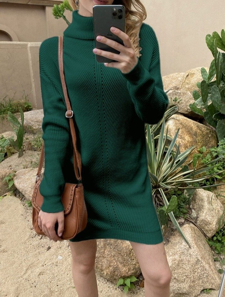Women's knitted turtleneck pullover sweater dress for fall/winter