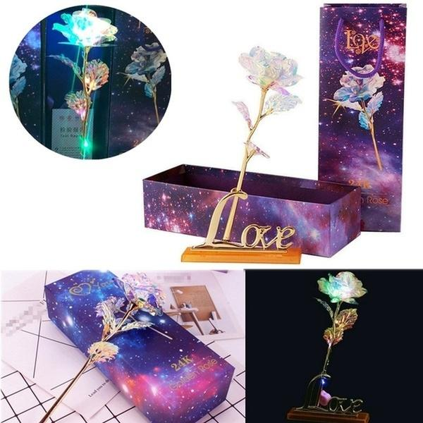 Beautiful Crystal Rose Flowers Elegant Wedding Favor Flower Gift Glowing Colorful Crystal Glass Roses Gold Foil Simulation Bouquet