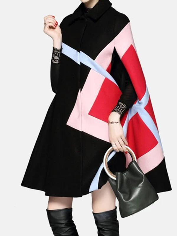 Color-Block Lapel Batwing Sleeve Outerwear